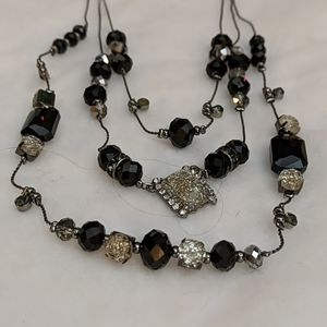 Mixit 3 Tier Black Silver & Glitter Bead Necklace